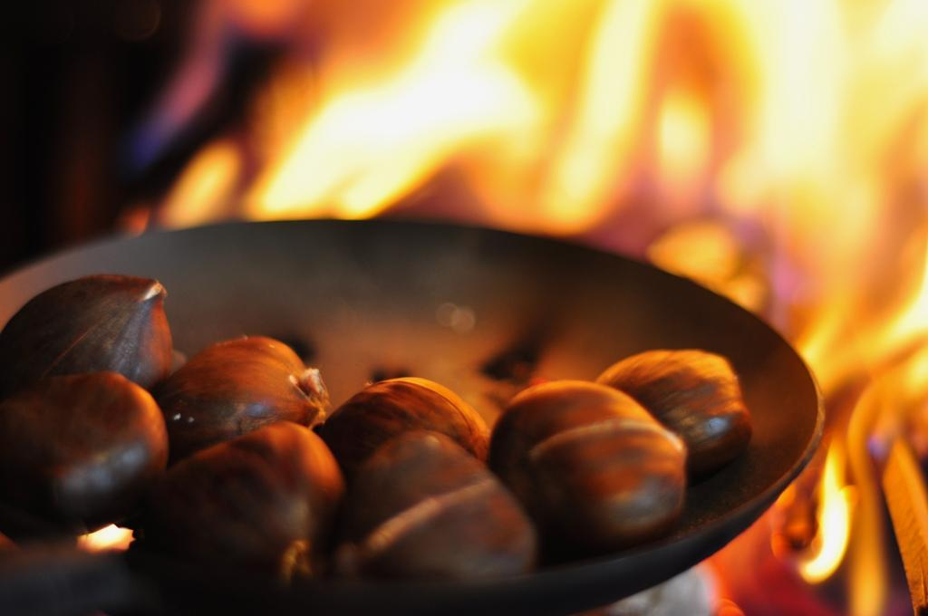 Local Food And Wine - Chestnuts Roasting on an Open Fire