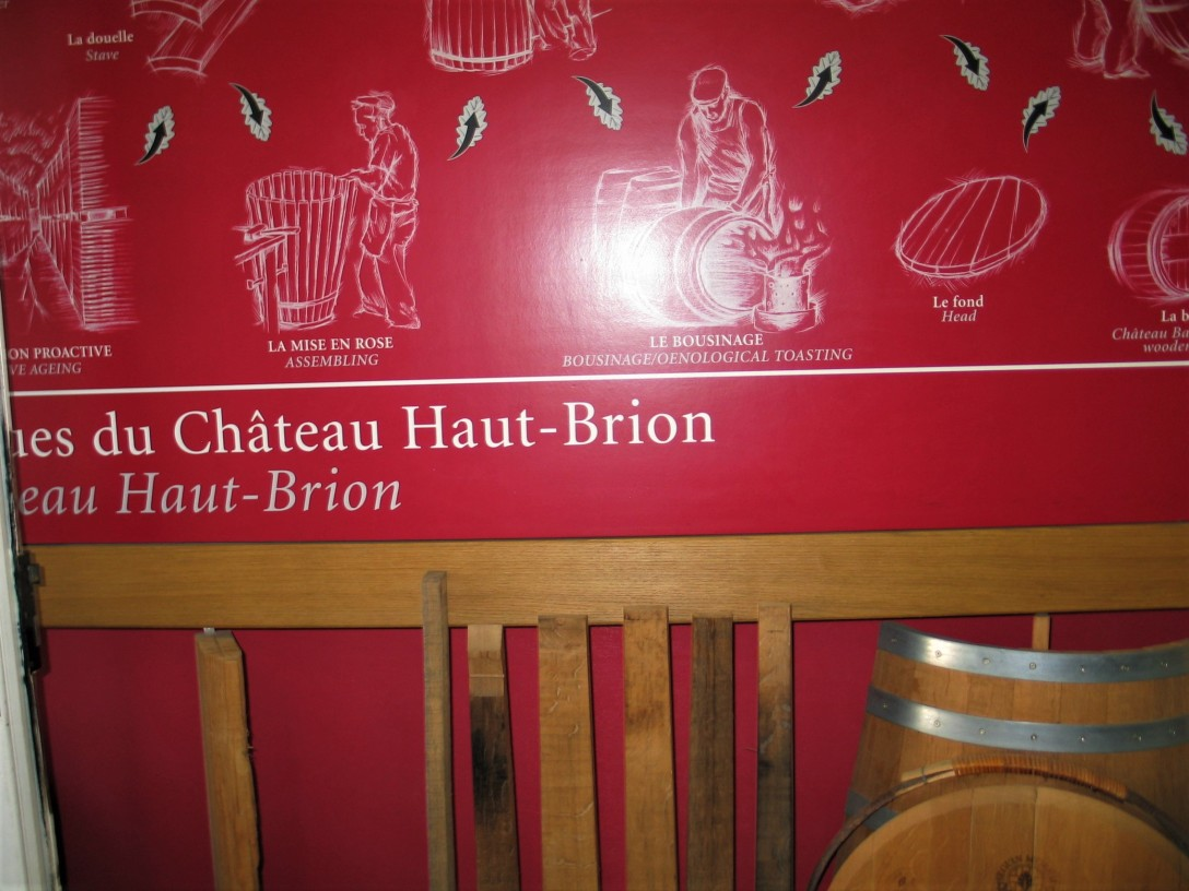Chateau Haut Brion signage in cooperage photo by Paige Donner copyright IMG_2560